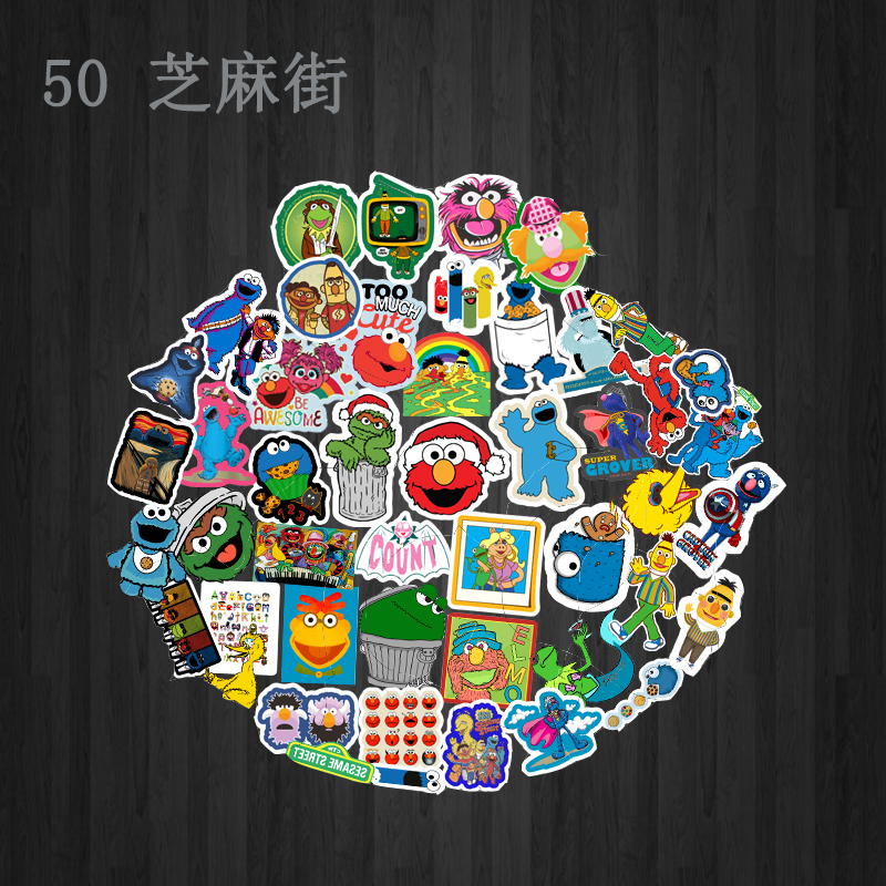 50pcs Sesame Street Suitcase Waterproof Sticker Single Sale Cool Laptop Luggage Fridge Phone Graffiti Notebook Stickers in Car Stickers from Automobiles Motorcycles