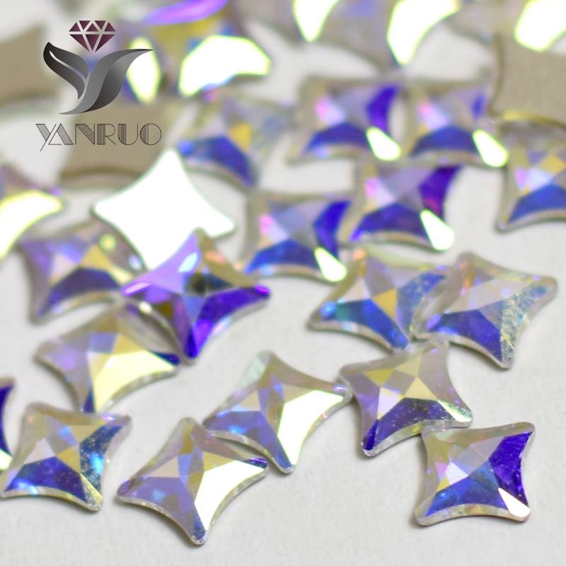 YANRUO 72pcs 6mm AB Crystal Starlet Flatbacks No-Hotfix Rhinestones - Dırnaq sənəti - Fotoqrafiya 3