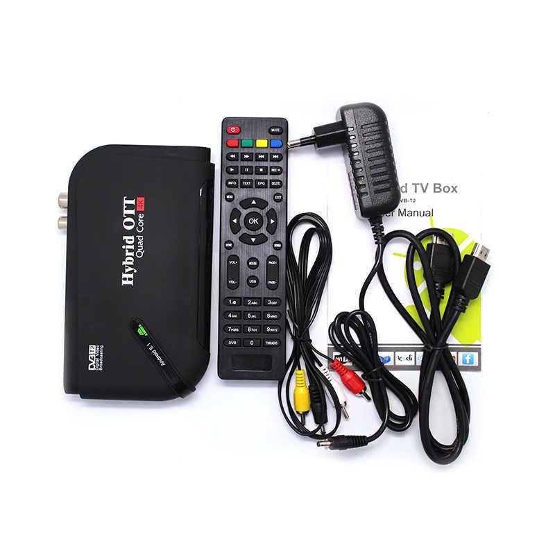 DVB-T2 Android ТВ Коробка двойной режим Декодер каналов кабельного телевидения ТВ-тюнер ОС Aandroid 5,1 Amlogic S905 4 ядра DVB T2 Поддержка 4 K Дисплей H.265