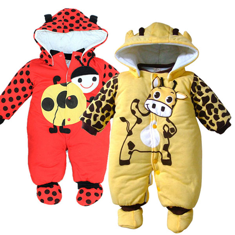 High quality Cotton Thick warm Infant Winter Clothing Baby Romper цена