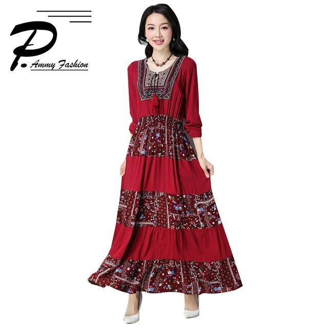 fabbefeb76 Womens Vintage Oversized Cotton Linen Print Jumper Dress 2018 Spring New  Voguees dresses Long Sleeve Tunic Dress