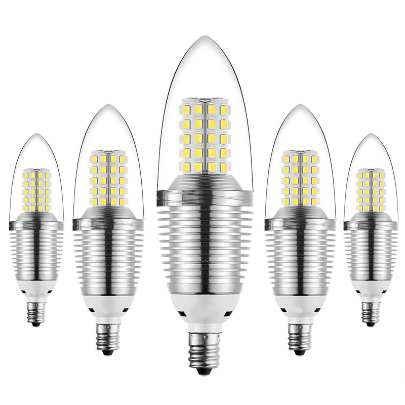LED Bulb E14 5/7/9/12W SMD 2835 LED Light Bulbs Sliver Candle Light Chandelier Lamp Pure White Warm White Lighting AC85-265V