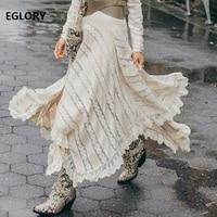 Пол Длина юбка 2018 осень зима весна вечерние Для женщин макси юбка дамы кружева лоскутное асимметричный Стиль длинная юбка женский