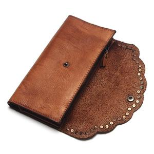 Image 4 - TAUREN Brush Color Clutch Anchor Nail Genuine Leather Women Wallets Purse Long Design High Capacity Cell Phone Pocket Coin Purse