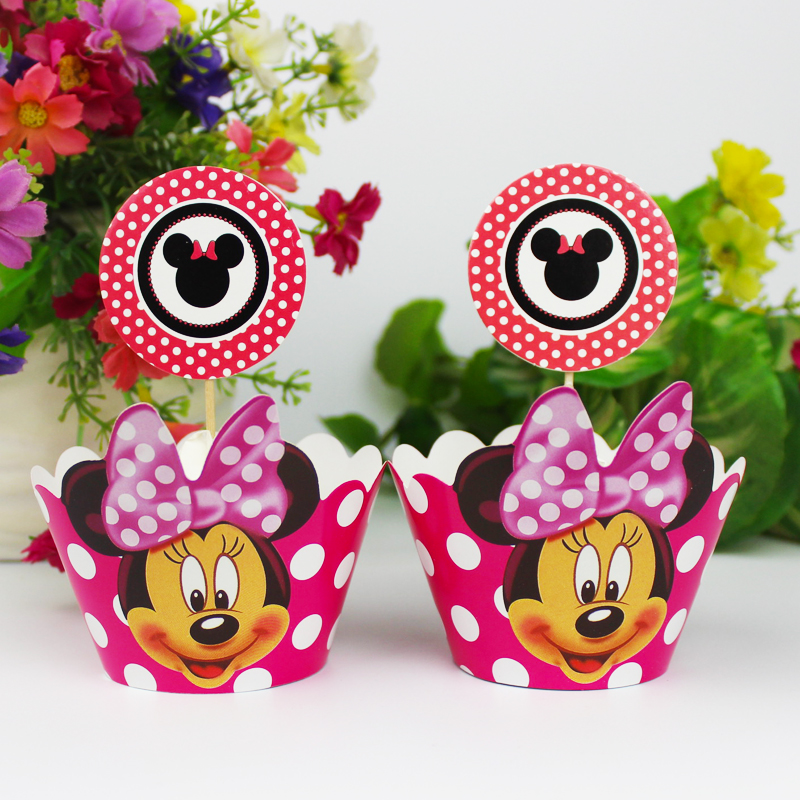 120pc Minnie Mouse Party Paper Cupcake wrappers toppers for kids birthday party decoration cake cups(60pcs wraps+60pcs toppers)