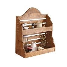 Деревянный винтажный стеллаж для хранения украшения настенный двойной Sundries полка для хранения домашнего интерьера кухонные полки Органайзер подарок