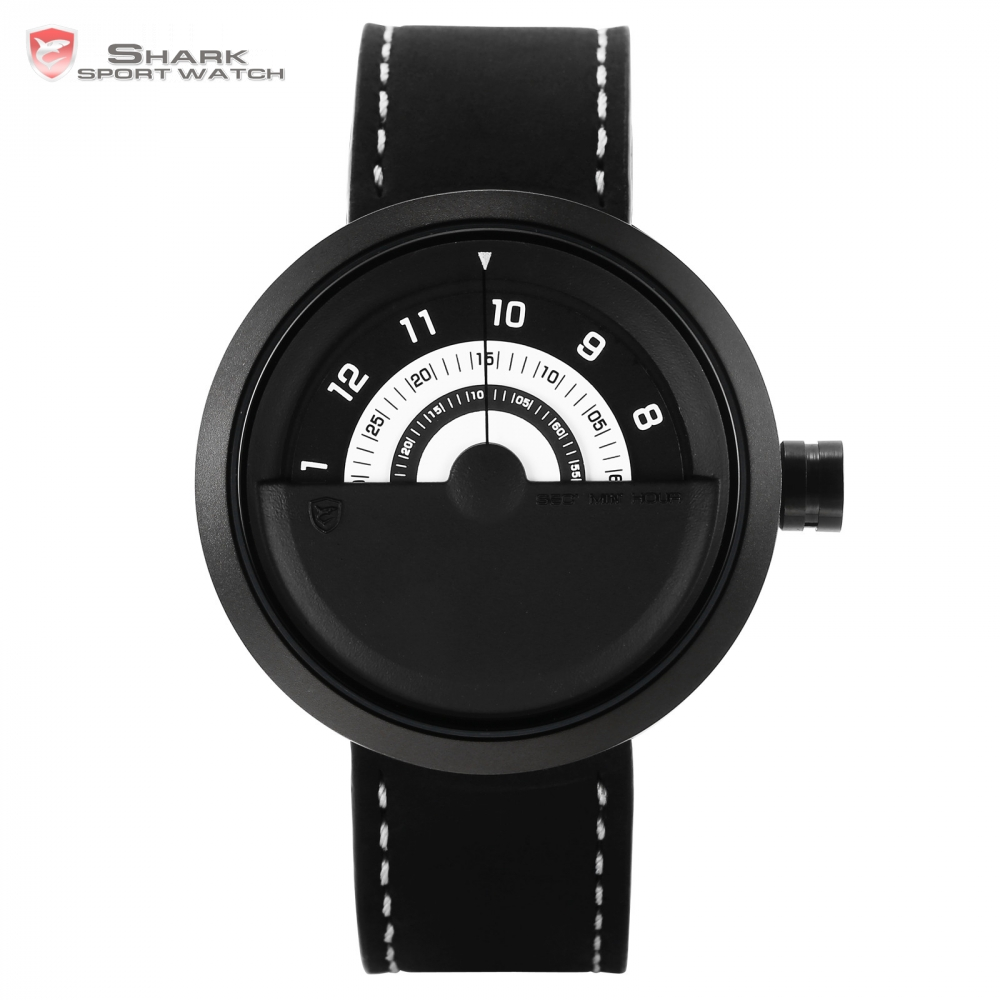 Bonnethead Shark Sport Watch Black White Rotate Indicator No Hand Design Quartz Genuine Leather Watches Man Gift Masculino/SH424