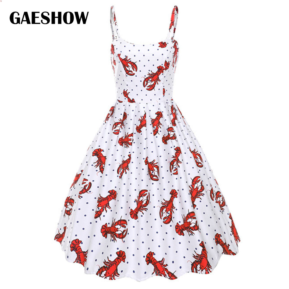 ae6214c3e Gaeshow Lobster Print Retro Vintage Dress Women Sleeveless O Neck Cotton  Summer Dresses Sexy Spaghetti Strap Female Party Dress