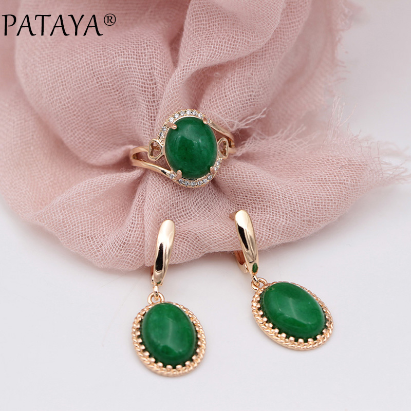 PATAYA New 585 Rose Gold Malay Oval Natural Stone White Zircon Long Dangle Earrings Rings Sets Women Wedding Party Fine Jewelry