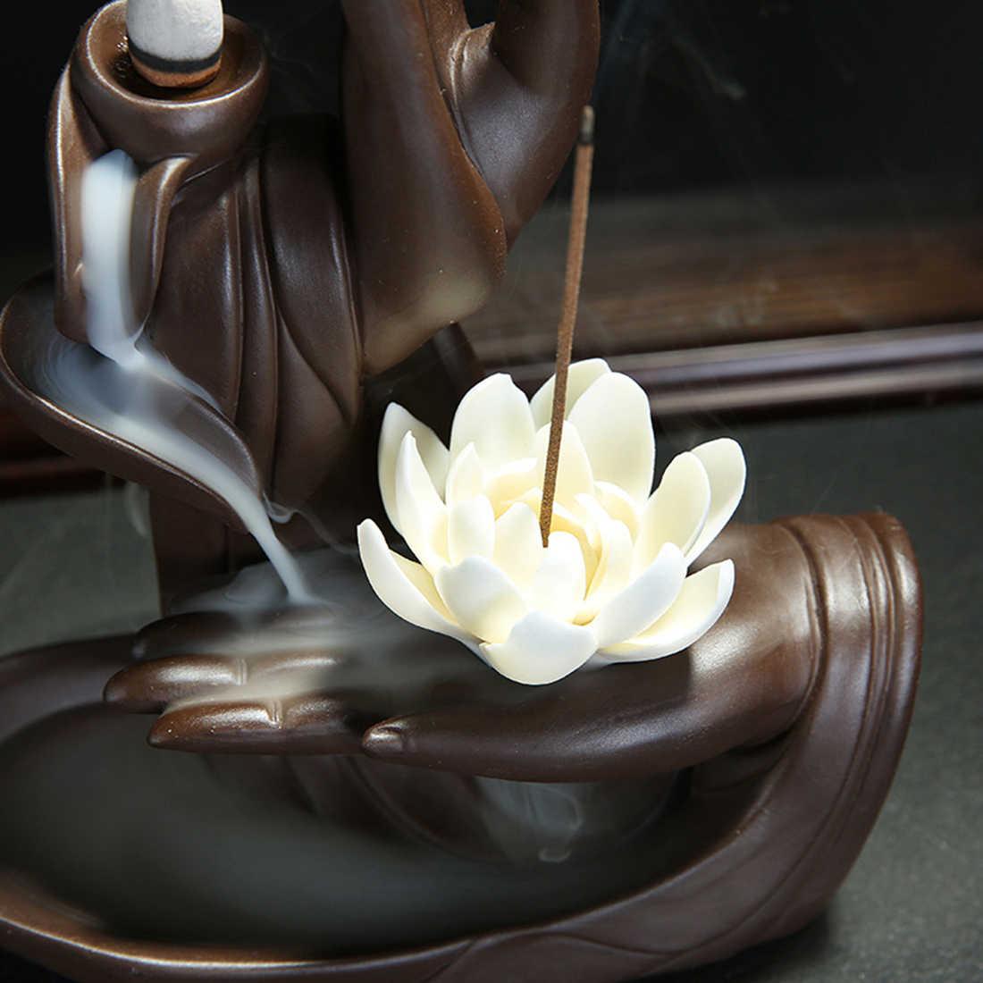 Quemador de incienso con flujo de retorno de cerámica, Tathagata o Buda, soporte para palo de conos de incienso de loto, cascada de humo, decoración creativa para hogar