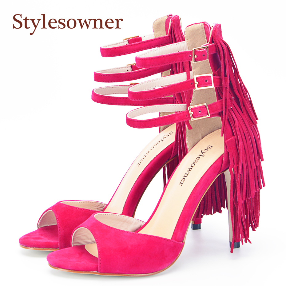 Stylesowner Brand Summer Sandals Real Suede Leather Ankle Buckle Back Layer Tassel Shoe Fringe Gladiator Sandals Party Stilettos stylesowner elegant lady pumps sandal shoe sheepskin leather diamond buckle ankle strap summer women sandal shoe