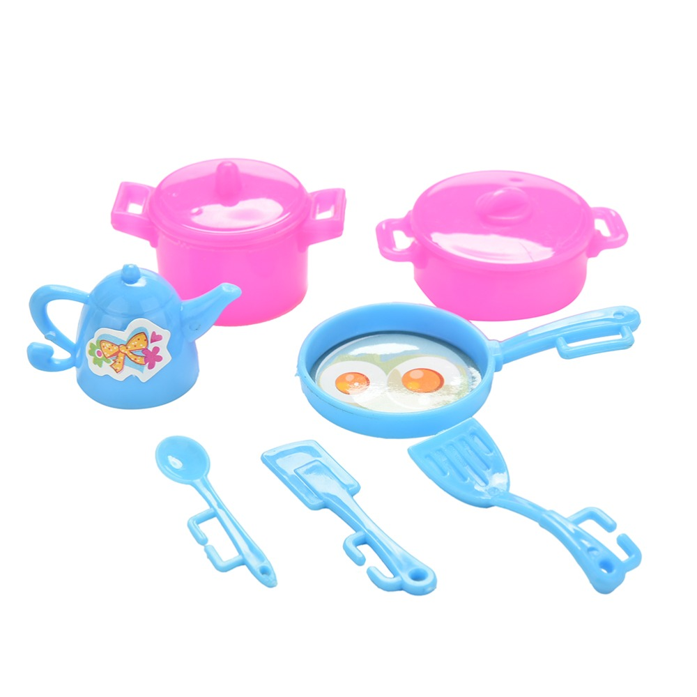 7pcs/lot Plastic Kitchenware Set For Barbies Dolls Doll\'s Play House ...