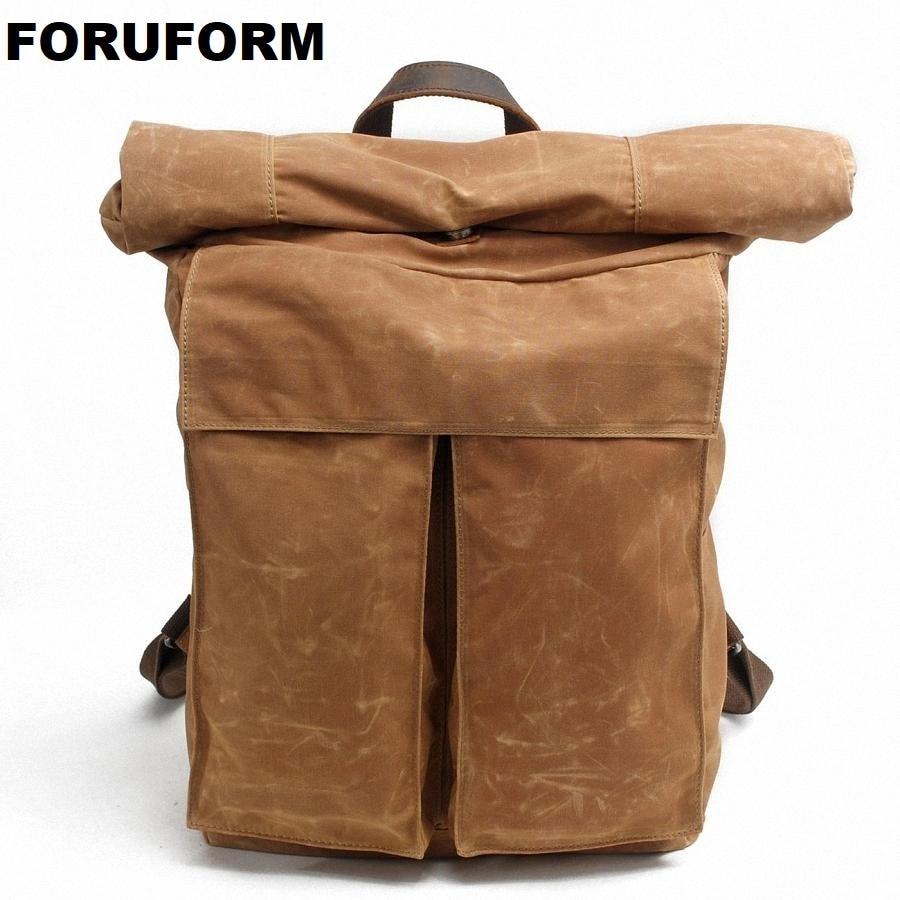 купить Vintage Men Waterproof Canvas Backpack Fashion School Bag Casual Travel Rucksack 17 Inch Laptop Bolsas Mochila LI-1490 по цене 3543.35 рублей