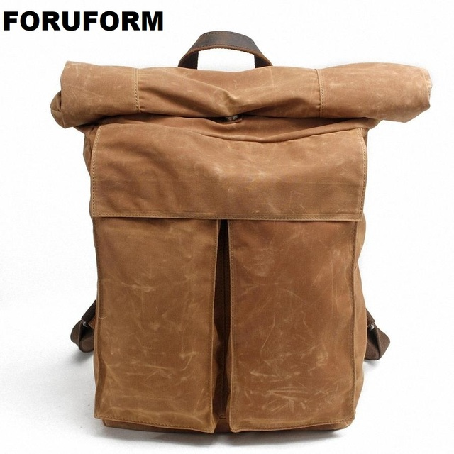 3de407bc5062 Vintage Men Waterproof Canvas Backpack Fashion School Bag Casual Travel  Rucksack 17 Inch Laptop Bolsas Mochila