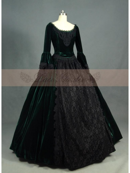 Green and Black Velvet Lace Victorian Ball Gowns Classic Dress Gownseastlake Antique Victorian Dresser