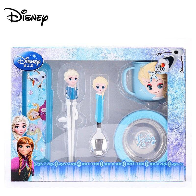 Disney Children's Tableware Practice Chopsticks Spoon Cup Set Student Cutlery Four-piece Of Frozen