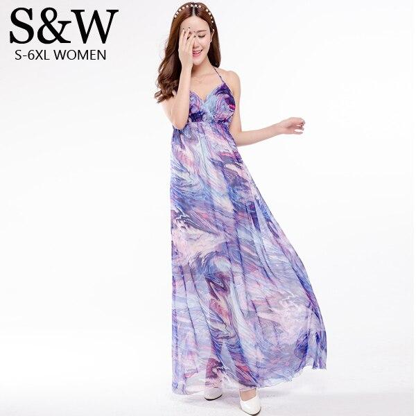 61df47d82eb Backless Sexy Summer Dress 2016 Women Bohemian Dress Maxi Dresses Plus Size  XXXL Boho Print Chiffon