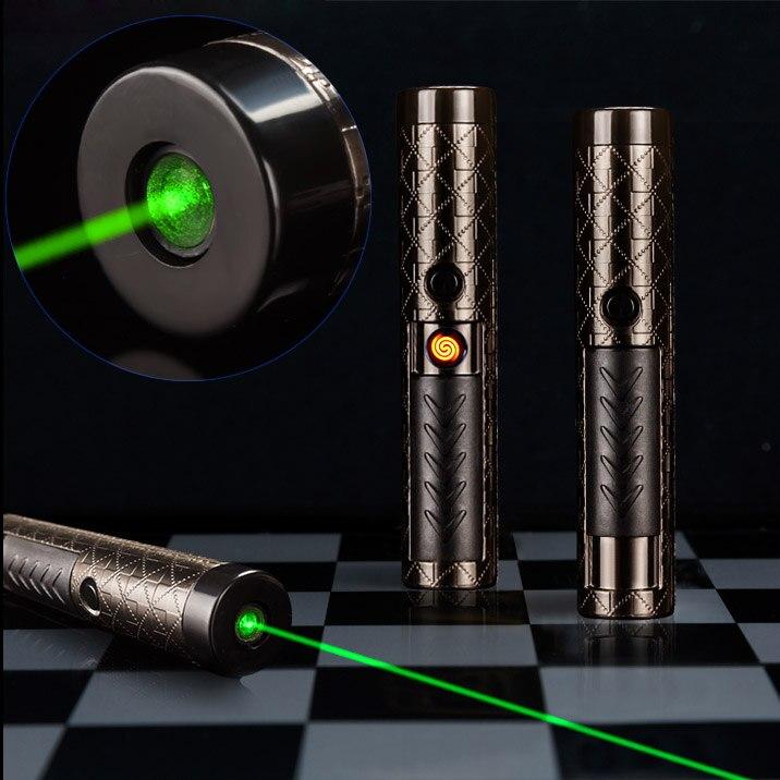 QIYING جديد USB igh الطاقة 532nm قابلة للشحن الأخضر قلم ليزر مع ولاعة السجائر وظيفة (أسود)| |   - AliExpress