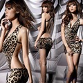 New Lady Sexy Leopard Lingerie Pijamas roupa de noite Backless Peluches Nighty-J117