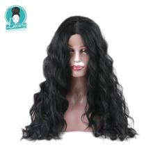 Luxury For Braiding Long Black Wig High Temperature Fiber 26 Inch 150% Density L Part Lace Front Synthetic Wigs For Women(China)