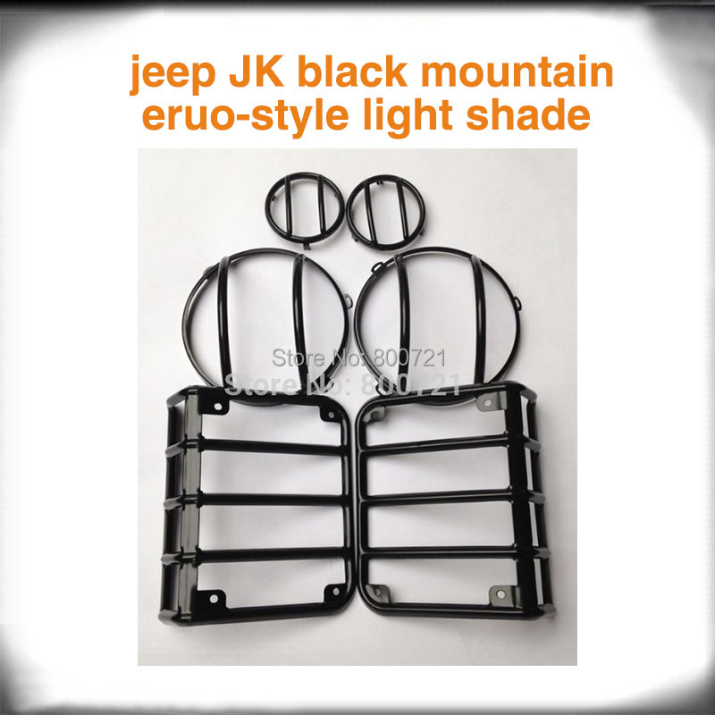 Tail Light HeadLight Parking Lamp Hoods Black Lamp Euro Guard for jeep wrangler JK auto products Lantsun