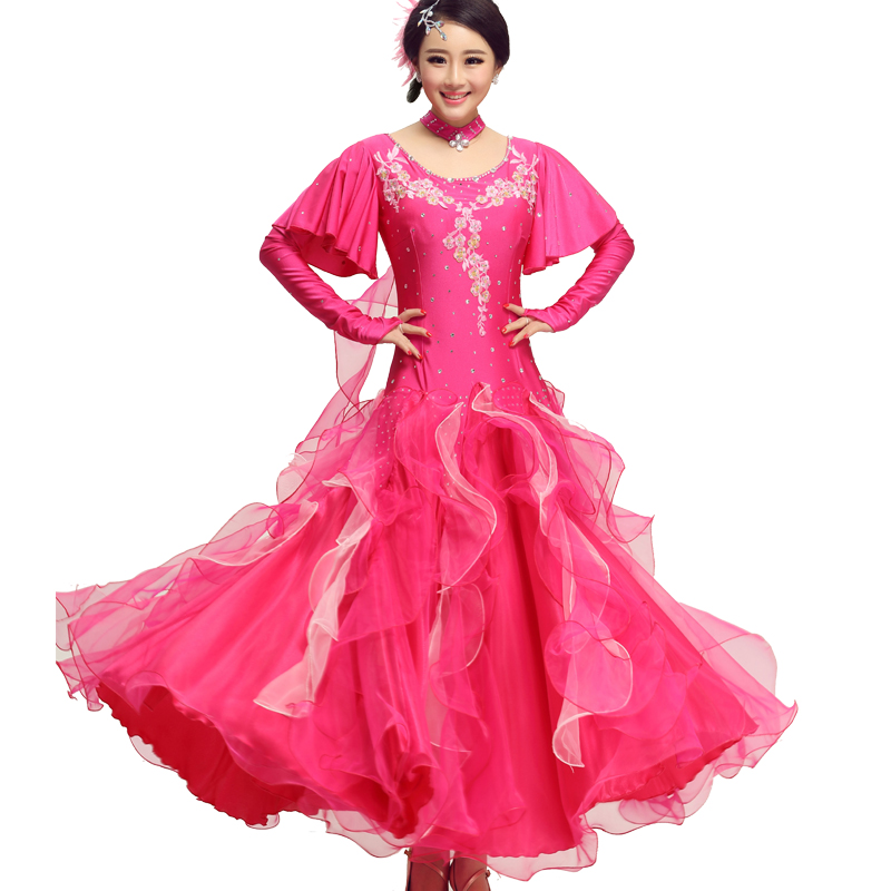 US $65.0 |Women\'s standard ballroom dancing dress short/long sleeve style  plus size ballroom dresses 3 colors for choose MQ232-in Ballroom from ...