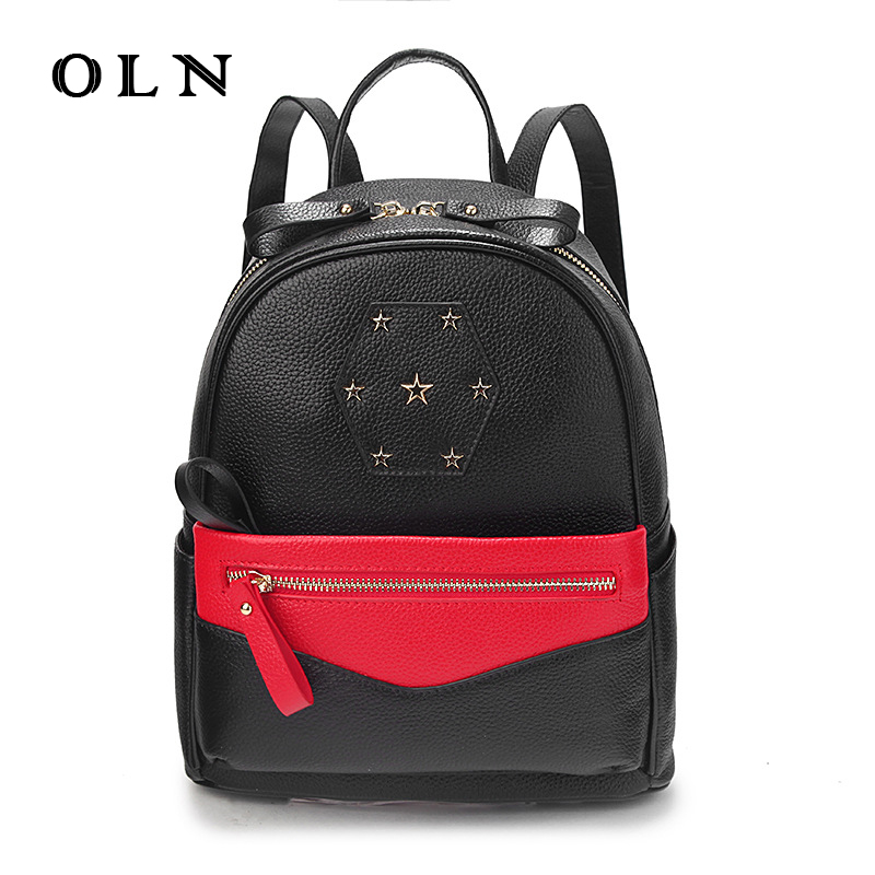 OLN Fashion Genuine Leather Backpack Women Crossbody Bag Female Preppy Style Zipper Backpack for Teenage Girls Shoulder