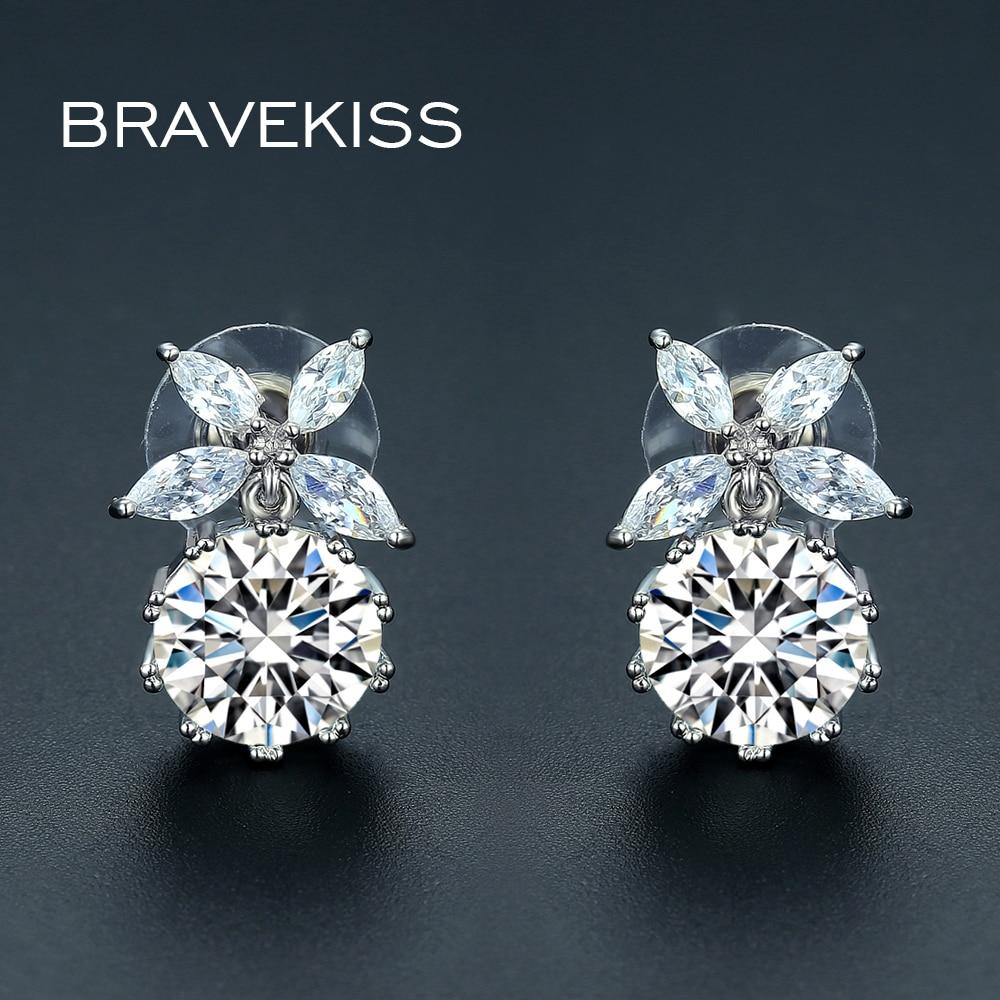 BRAVEKISS 2020 Luxury Cubic Zirconia CZ Wedding Stud Earrings Flower Bride Earrings For Women Fashion Party Jewelry Gift BUE0346