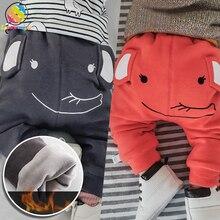 Baby Cute Big PP Pants Boys Winter Thicken Velvet Warm 3D Elephent Bottom Pant Leggings Girls Diaper Leggins Fills Child Clothes