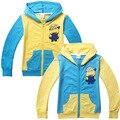 4 шт./лот гадкий я балахон миньонов одежда для детей хлопка на молнии с капюшоном топ мальчики девочки футболка детям пальто