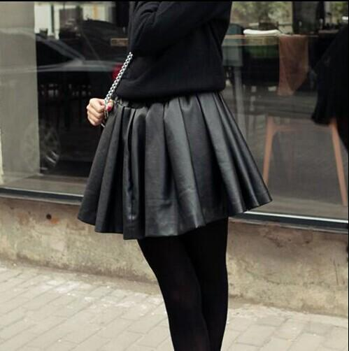 a518429a21 Fashion Design Women High Waist Short Pleated Skirts Girls Faux Leather  Pleated Mini Black Skirt Plus Size-in Skirts from Women's Clothing on  Aliexpress.com ...