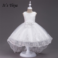 It S YiiYa Sleeveless 5 Colors O Neck Pattern Flower Bow Bling Sequined Kids Princess Flower