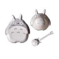 Ceramic Porcelain Creative Cute Totoro Cat Shaped Plate Dish Dinner Bowl Spoon Plates Kitchen Tableware
