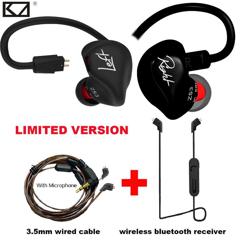 KZ ZS3 inalámbrico auricular KZ auricular Bluetooth versión limitada adaptador Bluetooth Cable teléfono HiFi auricular con Cable con micrófono