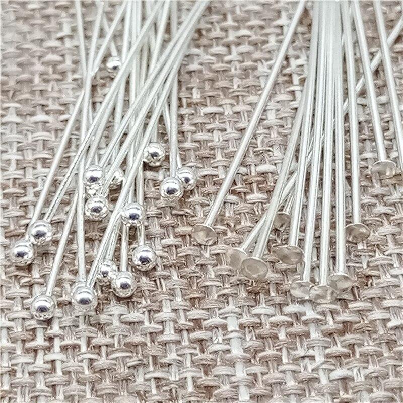 925 Sterling Silver Ball Head Pins Flat Head Needle 30mm Length(1.18