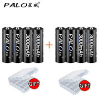 8Pcs Original PALO 1 2V AA Battery Rechargeable Batteries 3000mah 2A Bateria Baterias Ni Mh Rechargeble