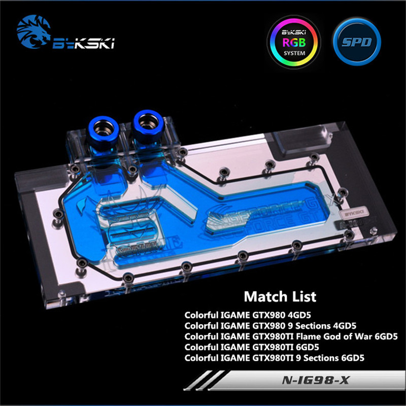 Bykski Full Coverage GPU Water Block For Colorful GTX980TI GTX980 GTX780TI Graphics Card N-IG98-X vg 86m06 006 gpu for acer aspire 6530g notebook pc graphics card ati hd3650 video card