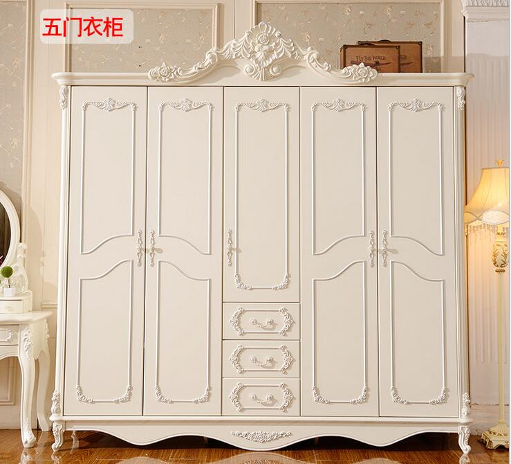 Solid Wood Carved French White Wardrobe Closet Bedroom