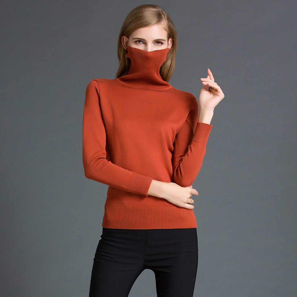 d60f24bb4fc6d ... 2019 Autumn Winter Women Pullovers Sweater Casual Jumpers Fashion Slim  Turtleneck Warm Sweaters Long Sleeves Ribbed ...
