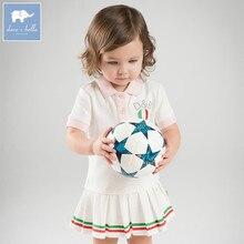 Dave bella DB7614 esporte meninas do bebê vestido de crianças infantis da criança 100% roupas de algodão crianças verão linda bolas jogar vestir
