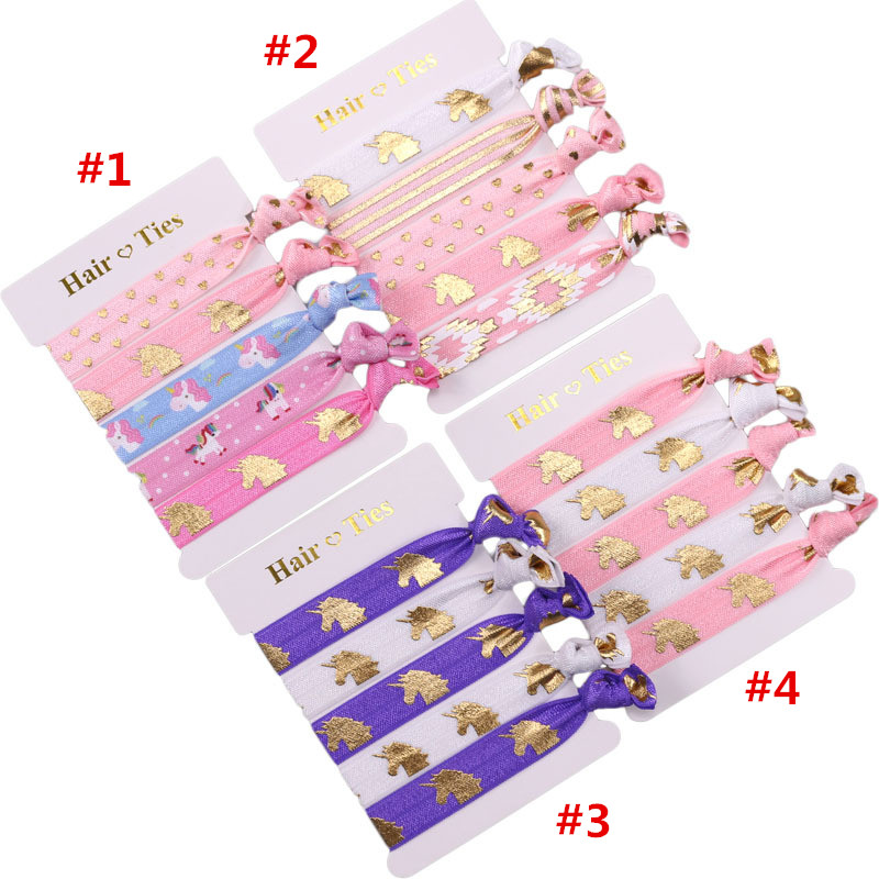 30 cardlot, Unicorn printed Knotted Girl FOE fold over elastic  Hair Ties elastic Hair fashion Accessories
