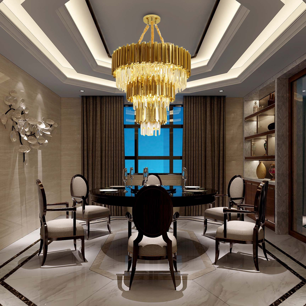 Luxury Modern Crystal Gold Stainless Steel Chandeliers Lighting 2