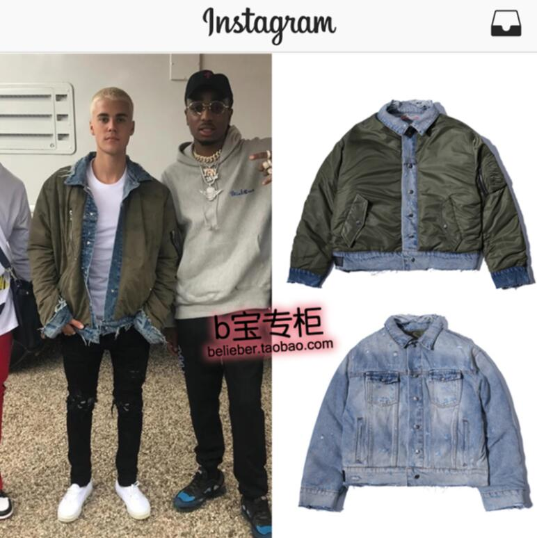 e115cb739ce 2018 New Justin Bieber men s clothing clothes b Double side wearing cowboy  jacket coat male stage