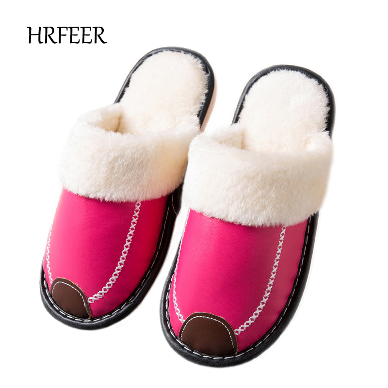 HRFEER Winter Women Home Slippers with Faux Fur Fashion Warm Indoor Shoes Woman Slip on Flat Mens Slides House Slipper Plus Size children parents boys girls cartoon bathroom slippers summer women home slippers lovers slides flat with indoor fashion new