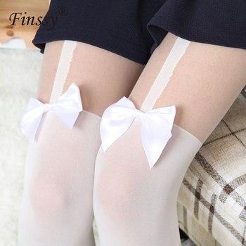 Japonés de estilo Lolita uniforme de la escuela media de las mujeres sobre la rodilla calcetines Medias para Cosplay de Lolita Calcetines