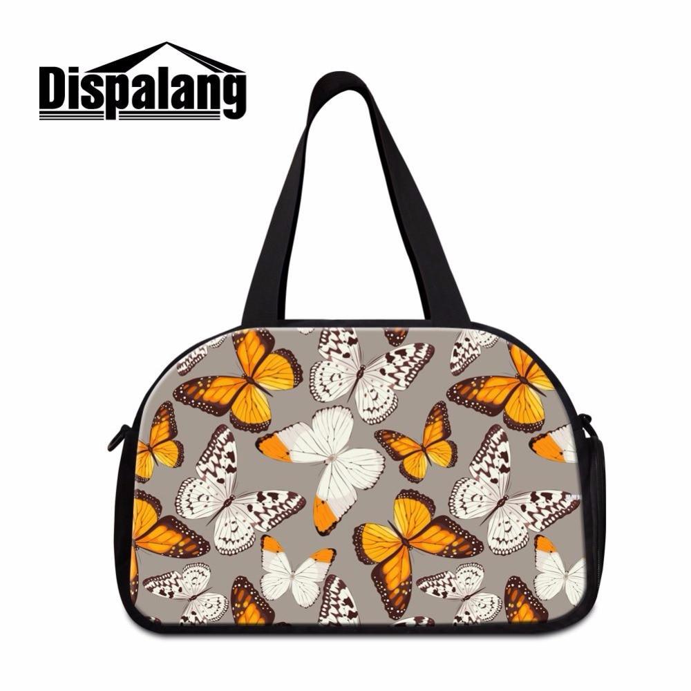 Dispalang Popular Butterfly Prints Travel Shoulder Bags For Women Duffle Bag + Independent Shoe Bit Large Weekend Bag Overnight