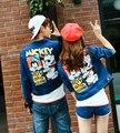 2017 outono e inverno nova moda coreana casal dos desenhos animados mickey mouse clothing denim lavado jaqueta jeans