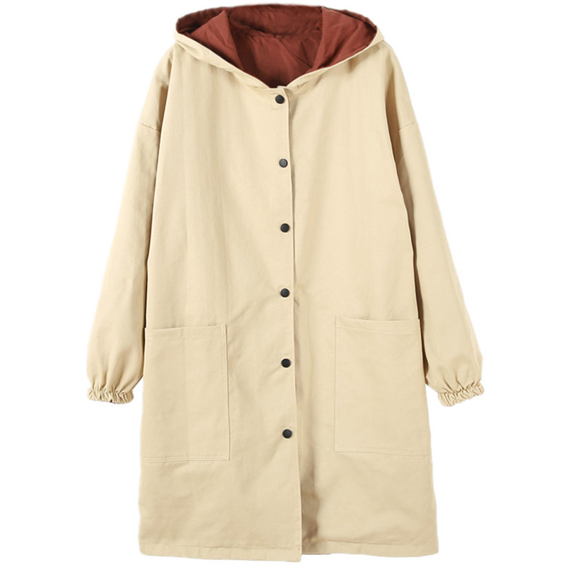 Womens Elegant   Trench   Coat Plus Size XL Hoodie Windbreaker Fashion Solid Pockets Button Lightweight Raincoat Overcoat Big Size