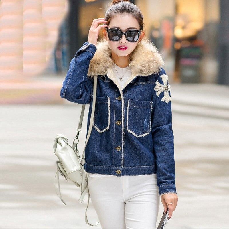 Women Autumn Winter Casual Lambs Wool jean Coat 2017 New Embroidery Fur Collar Warm Coat Outwear Silm Denim Jacket Parkas