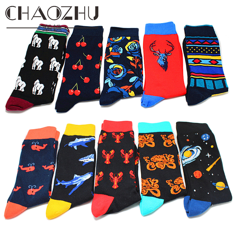 CHAOZHU New Big Size European Men's Footwear Fashion Novel Creative Cartoon Animals Fruits Striped Crew Socks Jacquard Fancies